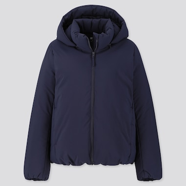 WOMEN HYBRID DOWN PARKA, NAVY, medium