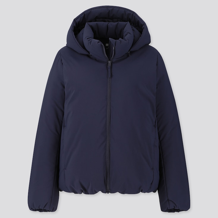 Women Hybrid Down Parka, Navy, Large
