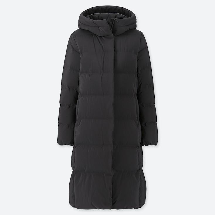 WOMEN SEAMLESS DOWN LONG COAT, BLACK, large