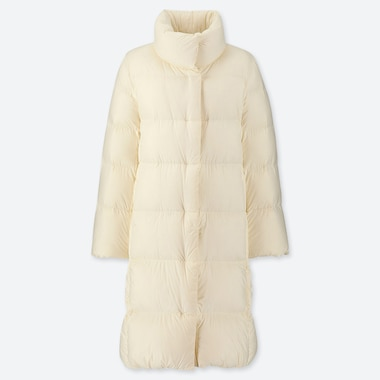 WOMEN LIGHTWEIGHT DOWN STAND COLLAR COAT, OFF WHITE, medium