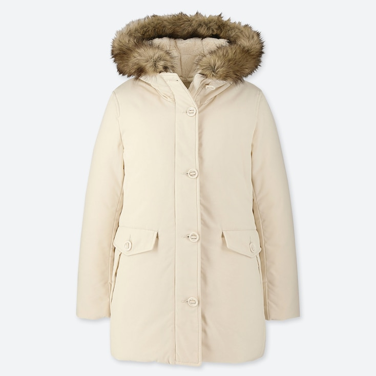 WOMEN HYBRID DOWN ULTRA WARM SHORT COAT, OFF WHITE, large