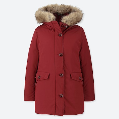 WOMEN HYBRID DOWN ULTRA WARM SHORT COAT, RED, medium