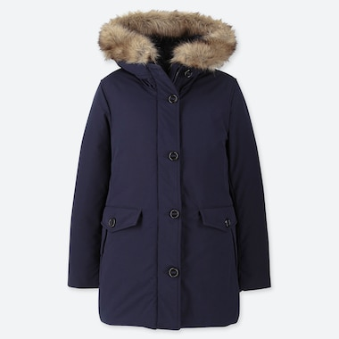 Women Hybrid Down Ultra Warm Short Coat, Navy, Medium