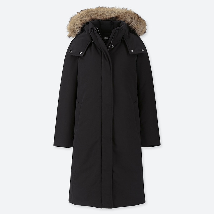 WOMEN HYBRID DOWN ULTRA WARM LONG COAT, BLACK, large