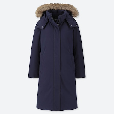 WOMEN HYBRID DOWN ULTRA WARM LONG COAT, NAVY, medium