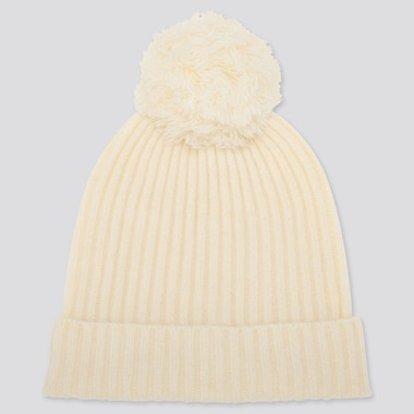 WOMEN SOUFFLE YARN KNITTED BEANIE, OFF WHITE, medium