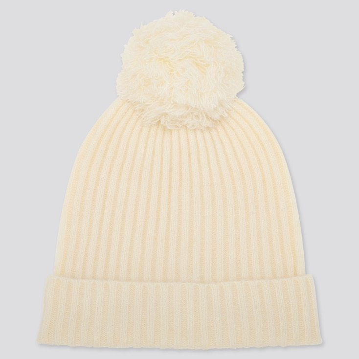 Women Souffle Yarn Knitted Beanie, Off White, Large