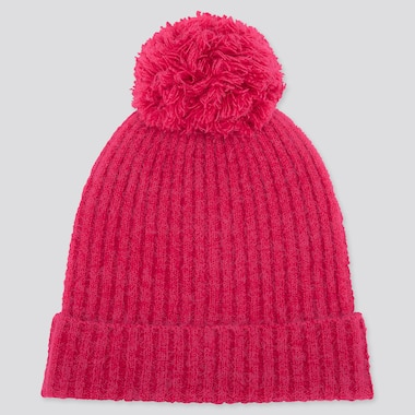 WOMEN SOUFFLE YARN KNITTED BEANIE, PINK, medium