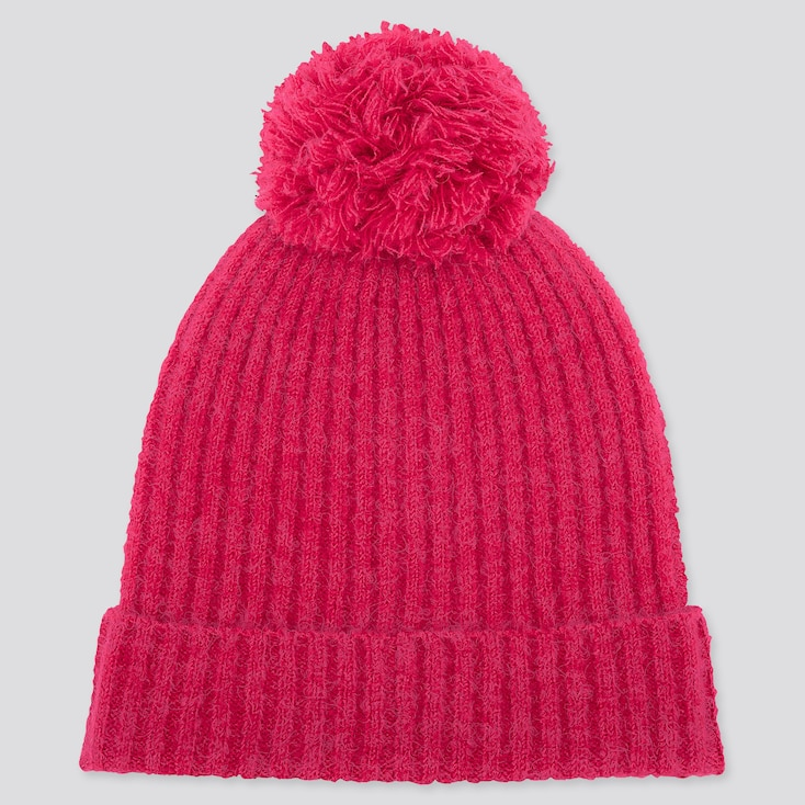 Women Souffle Yarn Knitted Beanie, Pink, Large