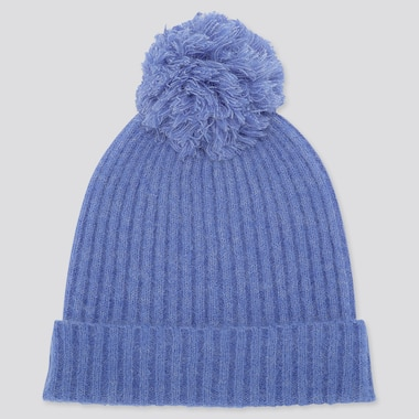 WOMEN SOUFFLE YARN KNITTED BEANIE, BLUE, medium