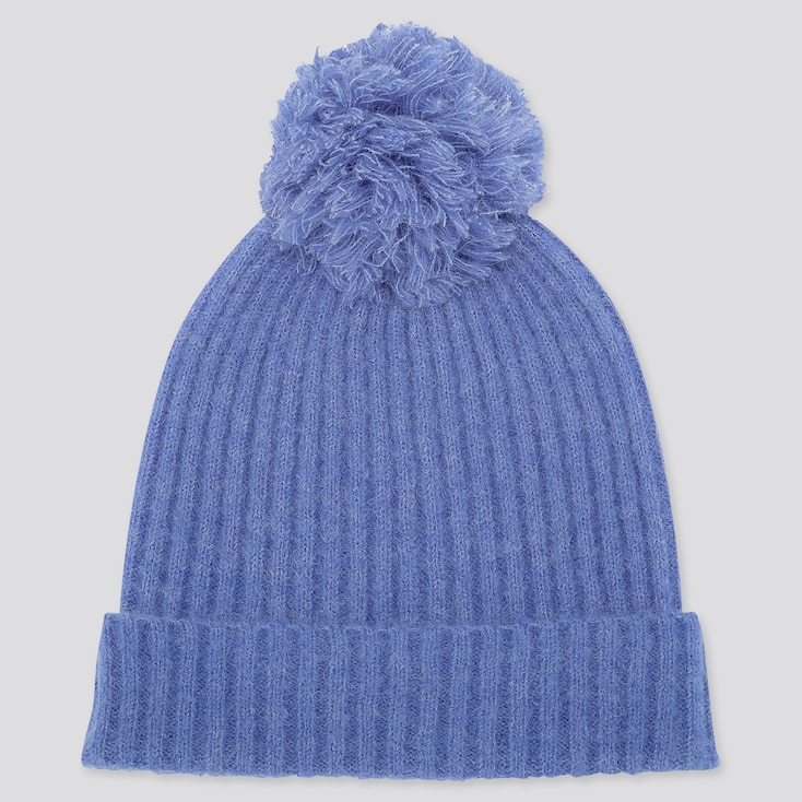 Women Souffle Yarn Knitted Beanie, Blue, Large