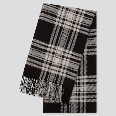 HEATTECH PATTERNED SCARF, BLACK, medium