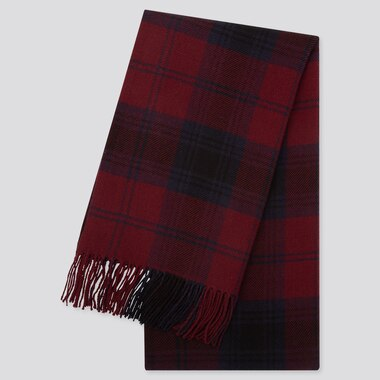 HEATTECH PATTERNED SCARF, WINE, medium