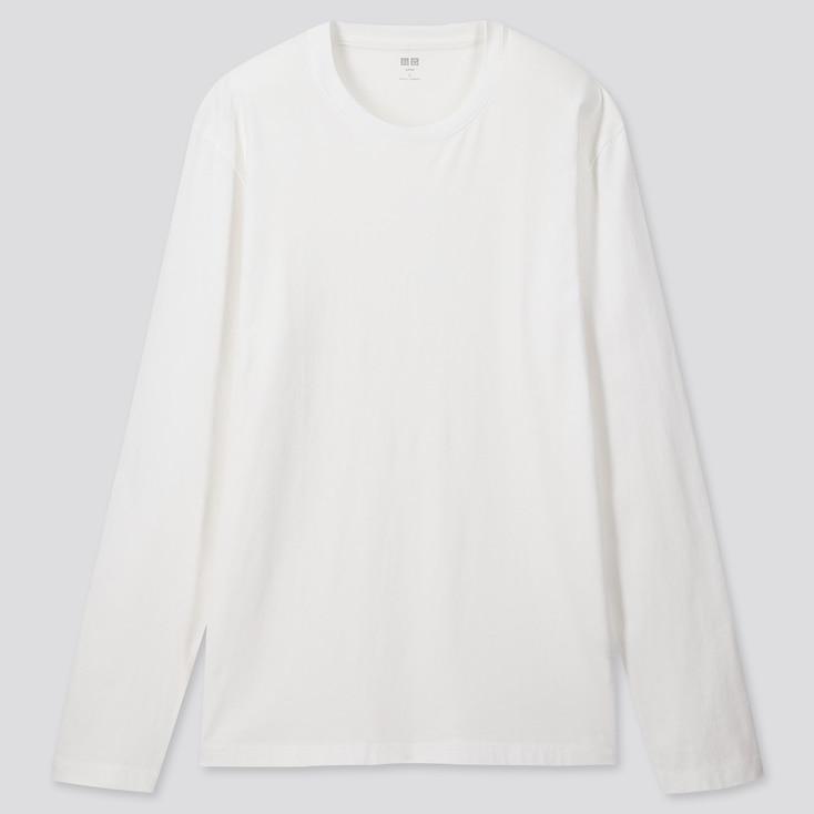 MEN SUPIMA® COTTON CREW NECK LONG-SLEEVE T-SHIRT, WHITE, large