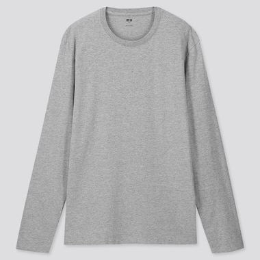MEN SUPIMA® COTTON CREW NECK LONG-SLEEVE T-SHIRT, GRAY, medium