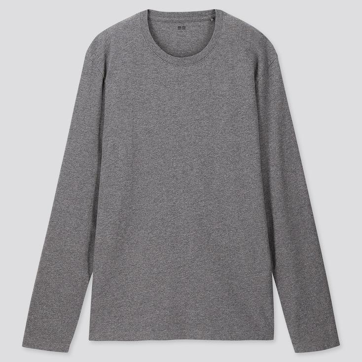 MEN SUPIMA® COTTON CREW NECK LONG-SLEEVE T-SHIRT, DARK GRAY, large