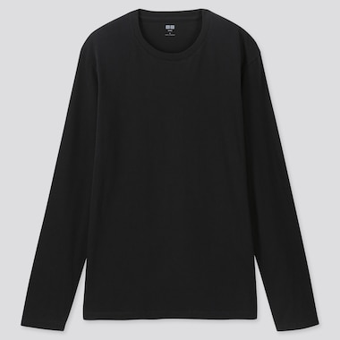 MEN SUPIMA COTTON CREW NECK LONG SLEEVED T-SHIRT