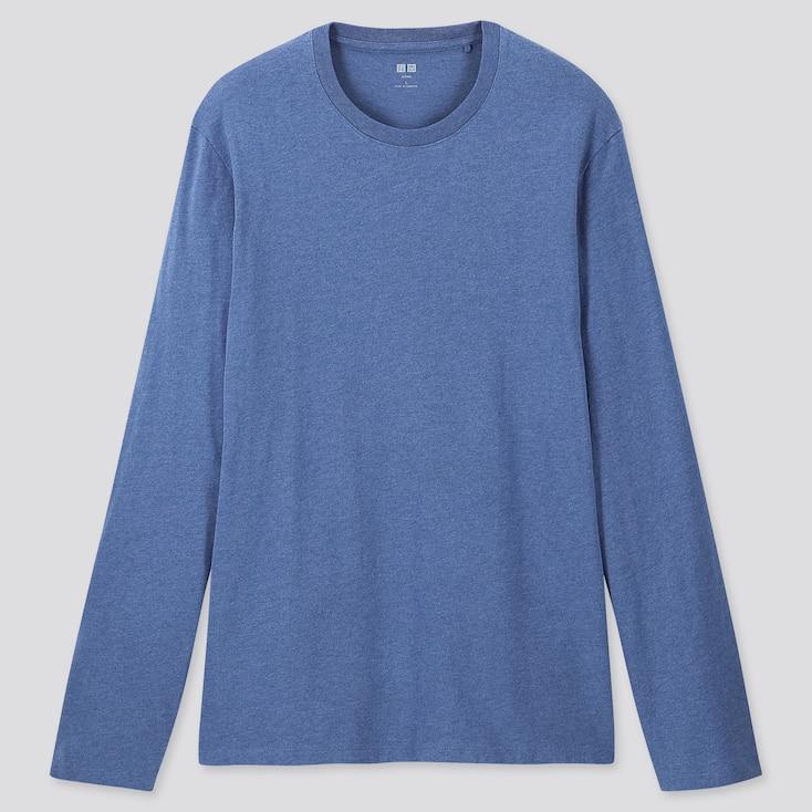 MEN SUPIMA® COTTON CREW NECK LONG-SLEEVE T-SHIRT, BLUE, large