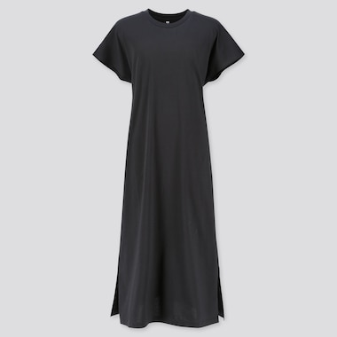 WOMEN MERCERIZED COTTON SHORT-SLEEVE LONG DRESS, BLACK, medium
