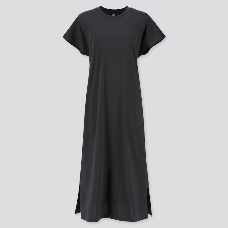 WOMEN MERCERIZED COTTON SHORT-SLEEVE LONG DRESS, BLACK, large