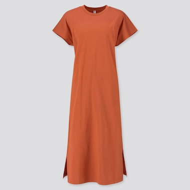 WOMEN MERCERIZED COTTON SHORT-SLEEVE LONG DRESS, ORANGE, medium