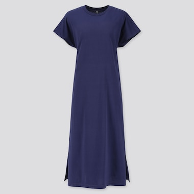 WOMEN MERCERISED COTTON SHORT SLEEVED LONGLINE MIDI DRESS