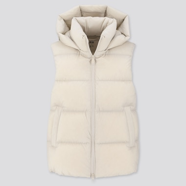 WOMEN DOWN PUFFER VEST, LIGHT GRAY, medium
