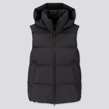WOMEN DOWN PUFFER VEST, BLACK, medium