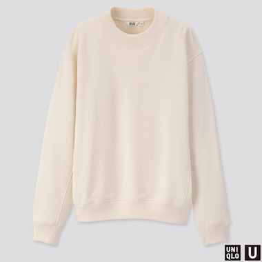 WOMEN U LONG-SLEEVE SWEAT PULLOVER, OFF WHITE, medium