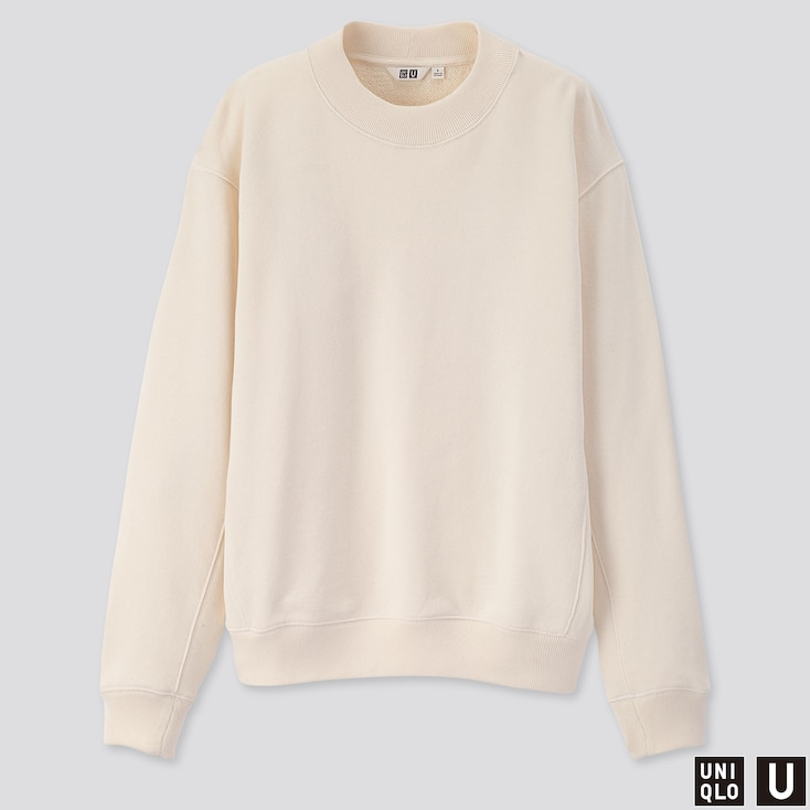 WOMEN U LONG-SLEEVE SWEAT PULLOVER, OFF WHITE, large
