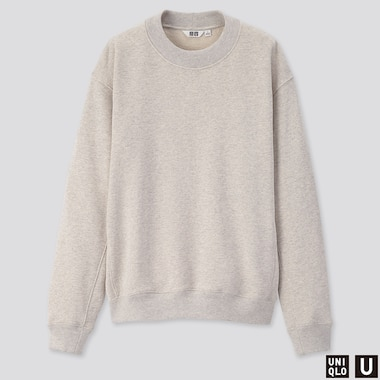 WOMEN U LONG-SLEEVE SWEAT PULLOVER, LIGHT GRAY, medium