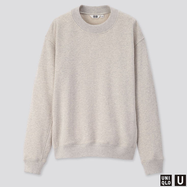 WOMEN U LONG-SLEEVE SWEAT PULLOVER, LIGHT GRAY, large