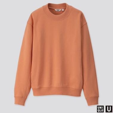 WOMEN U LONG-SLEEVE SWEAT PULLOVER, LIGHT ORANGE, medium
