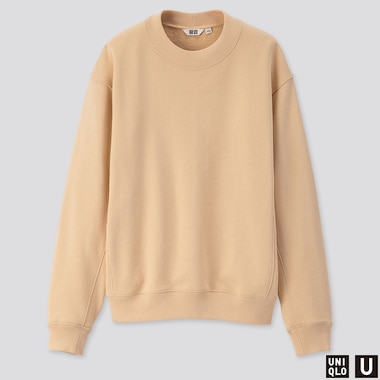 WOMEN U LONG-SLEEVE SWEAT PULLOVER, CREAM, medium