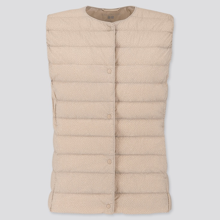 WOMEN ULTRA LIGHT DOWN COMPACT PRINTED VEST, BEIGE, large