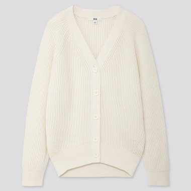 WOMEN COTTON CASHMERE RIBBED RELAXED CARDIGAN, OFF WHITE, medium