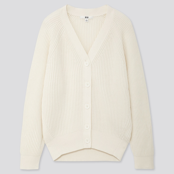 Women Cotton Cashmere Ribbed Relaxed Cardigan, Off White, Large