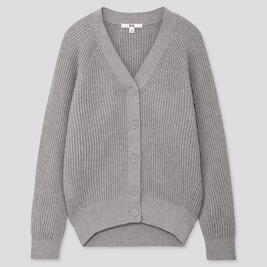 WOMEN COTTON CASHMERE RIBBED RELAXED CARDIGAN, LIGHT GRAY, medium