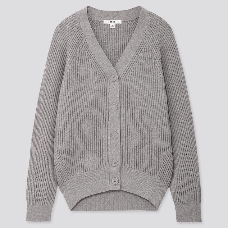 WOMEN COTTON CASHMERE RIBBED RELAXED CARDIGAN, LIGHT GRAY, large
