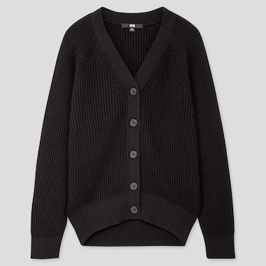 WOMEN COTTON CASHMERE RIBBED RELAXED CARDIGAN, BLACK, medium