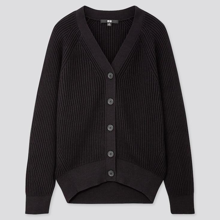 WOMEN COTTON CASHMERE RIBBED RELAXED CARDIGAN, BLACK, large