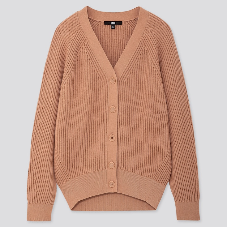WOMEN COTTON CASHMERE RIBBED RELAXED CARDIGAN, PINK, large