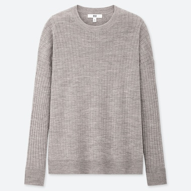 WOMEN MERINO-BLEND RIBBED OVERSIZED CREW NECK SWEATER, GRAY, medium