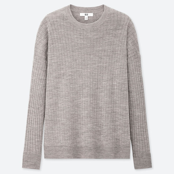WOMEN MERINO-BLEND RIBBED OVERSIZED CREW NECK SWEATER, GRAY, large