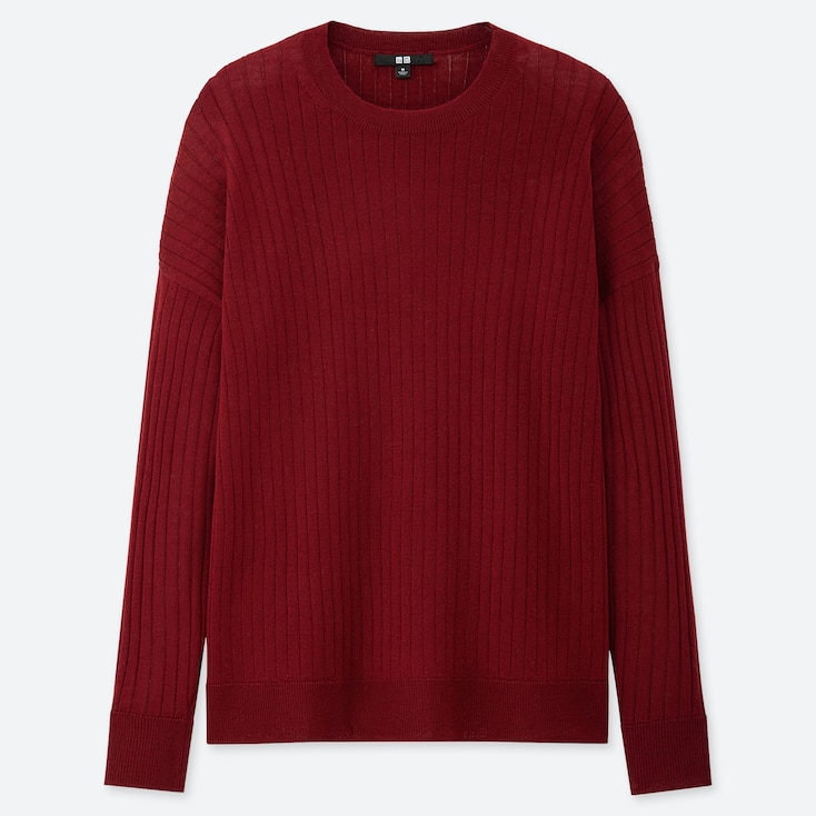 WOMEN MERINO-BLEND RIBBED OVERSIZED CREW NECK SWEATER, RED, large
