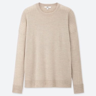 WOMEN MERINO-BLEND RIBBED OVERSIZED CREW NECK SWEATER, NATURAL, medium