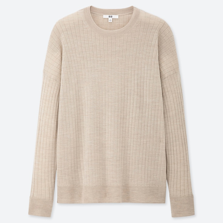 WOMEN MERINO-BLEND RIBBED OVERSIZED CREW NECK SWEATER, NATURAL, large