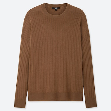 WOMEN MERINO-BLEND RIBBED OVERSIZED CREW NECK SWEATER, BROWN, medium