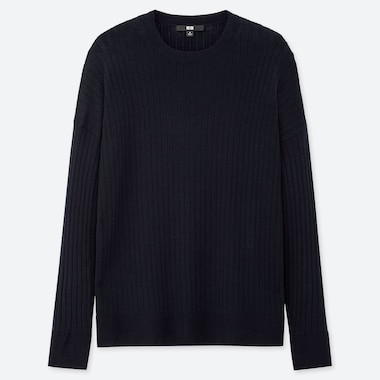WOMEN MERINO-BLEND RIBBED OVERSIZED CREW NECK SWEATER, NAVY, medium