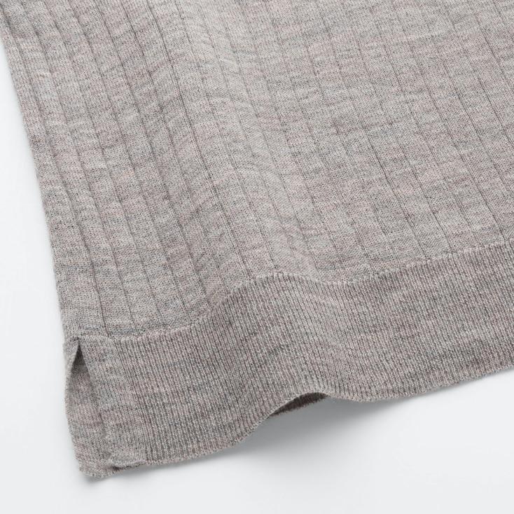 Women Merino-Blend Ribbed Oversized Crew Neck Sweater, Brown, Large